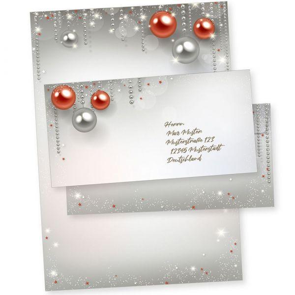 Gala Design 25 Sets Weihnachtsbriefpapier mit Umschlag ohne Fenster, Weihnachtspapier A4