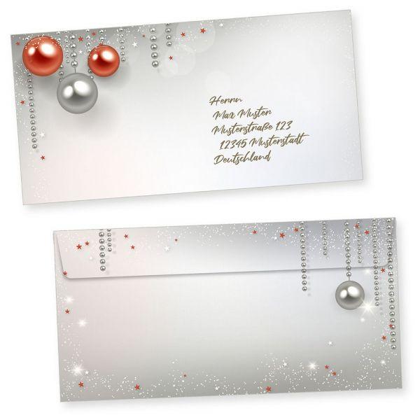 Gala Design 100 Weihnachts-Briefumschläge Din lang ohne Fenster Umschläge für Weihnachten selbstklebend haftklebend