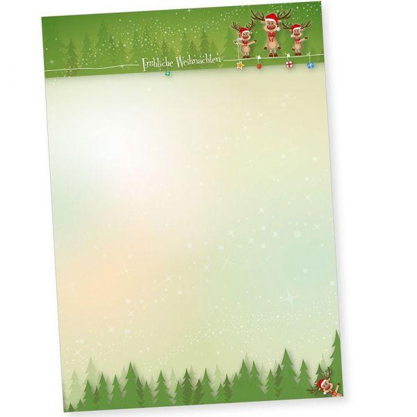 NEU Rentiere 250 Blatt Briefpapier Weihnachten, Weihnachtspapier A4 für Firmen