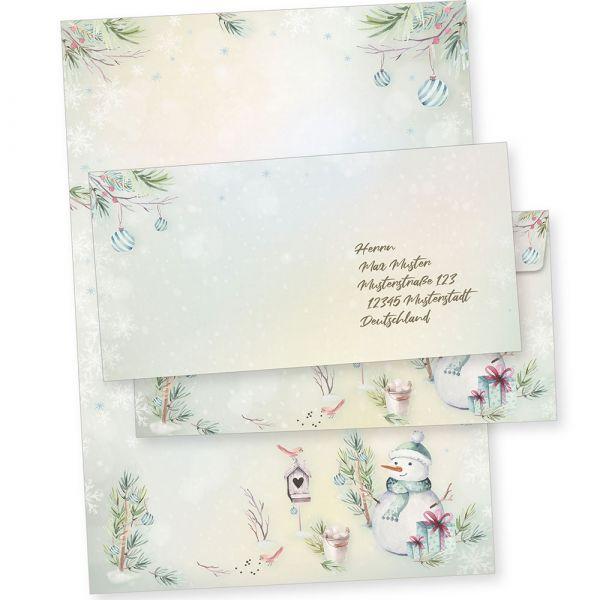 Flöckchen 10 Sets Weihnachtsbriefpapier mit Umschlag ohne Fenster, Weihnachtspapier A4
