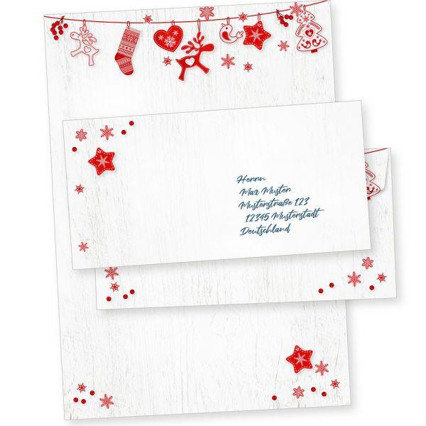 Julfest 25 Sets Weihnachtsbriefpapier mit Umschlag ohne Fenster, weihnachtliches Papier A4 nordisch, schwedisch