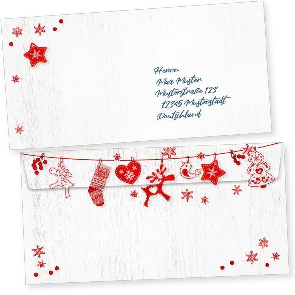 Julfest 100 Weihnachts-Briefumschläge Din lang ohne Fenster Umschläge für Weihnachten selbstklebend nordisch, schwedisch