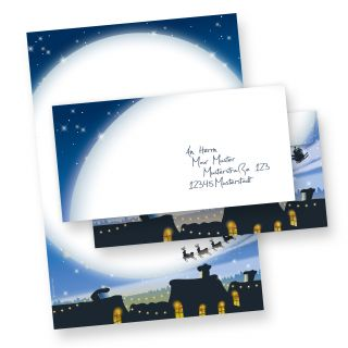 Weihnachtsbriefpapier Set blau (10 Sets ohne Fenster)