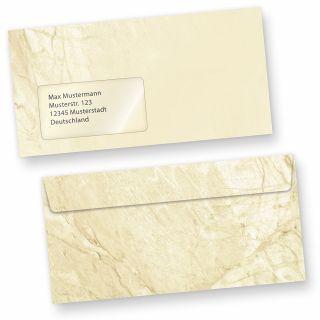 Briefumschläge Marmor (50 Stück m.F.) DIN lang Umschläge MIT Fenster haftklebend