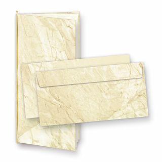 Einladungskarten Marmor (10 Sets) ohne Text selbst bedruckbar, mit Einlegeblätter + Goldbänder, für Geburtstag, Hochzeit uvm.