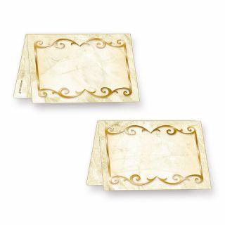 Tischkarten marmoriert (25 Stück) bedruckbar / beschreibbar, für Feiern Geburtstag, Hochzeit, Jubiläum