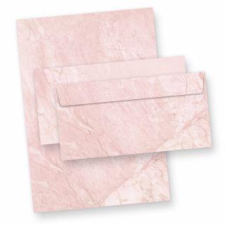 Briefpapier marmoriert Rot (25 Sets inkl. Kuverts)BEIDSEITIGES Strukturpapier, rötlicher Granit Marmor mit passenden Briefumschlägen