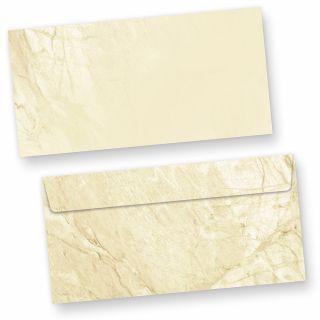 Briefumschläge braun marmoriert (50 Stück o.F.) DIN lang Umschläge Marmor ohne Fenster haftklebend