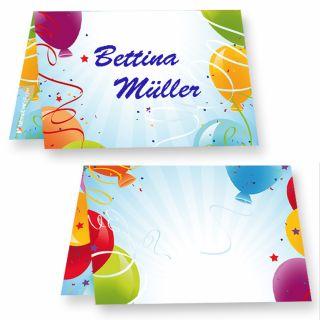 Tischkarten Geburtstag Luftballons (25 Stück) Tischkärtchen, bedruckbar / beschreibbar
