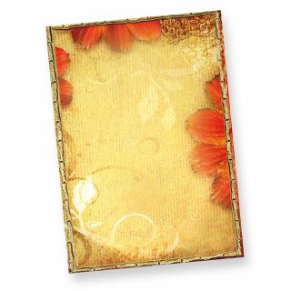Briefpapier Blumen Nostalgie (50 Blatt) Herbstliches Blumen Motivpapier DIN A4 210 x 297 mm, hochwertig, beidseitig bedruckt