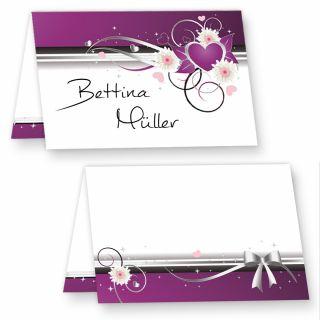 Edle Tischkarten lila Herzen (25 Stück) wunderschön - für Feiern, wie Geburtstag und Hochzeit und andere Anlässe