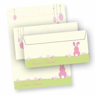 Briefpapier Ostern A4 rosa  (25 Sets inkl. Kuverts) Set mit Umschläge, NEU: inkl. 3 Oster-Postkarten