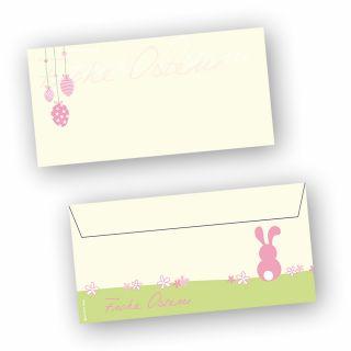 Briefumschläge Ostern rosa (50 Stück) DIN lang Umschlag mit Ostermotiv