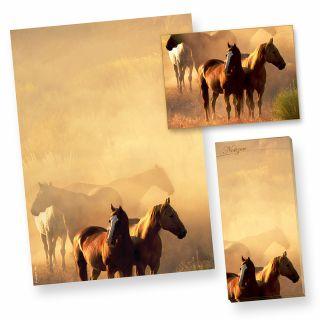 Briefpapier Pferde A4 (50 Blatt) beidseitig DIN A4 90g, inkl. Postkarten + Notizblock