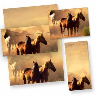 Mappe Pferde Briefpapier Set (25 Sets) beidseitig DIN A4, 25 Briefbogen + 25 Umschläge, inkl. Postkarten + Notizblock