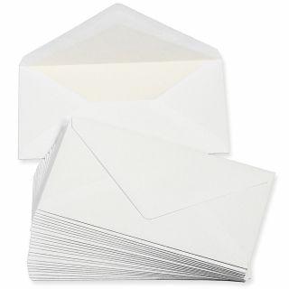PREMIUM Briefumschläge DIN lang weiss, gefüttert (25 Stück) weiß mit Innenfutter / Seidenfutter