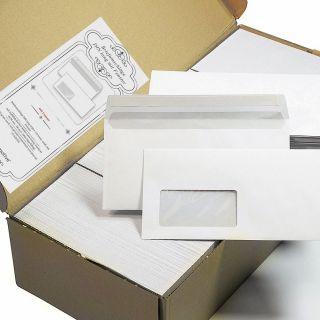 PREMIUM Briefumschläge DIN lang mit Fenster (1000 Stück) mit Haftklebestreifen (kein Austrocknen - bis 5 Jahre!) 220 x 110 mm, 80 g/qm von Tatmotive