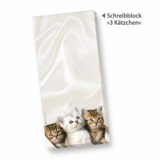 Schreibblock mit 3 Kätzchen (4 Stück) Notizblöcke DIN lang mit Katzen