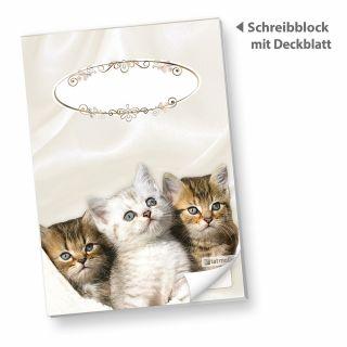 Schreibblock DIN A5 Katzen (1 Stück) süße Notizblöcke liniert mit Katzen