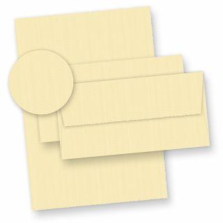 Hochwertiges Büttenpapier Set wildgerippt elfenbein (24-tlg) -> 14 Bütten Briefpapier A4 mit 10 Bütten Umschläge chamois