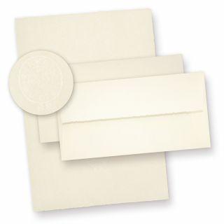 ZERKALL Büttenpapier Set A4 (24-tlg) 95 g/qm Mappe mit feinem Briefpapier und Umschläge, echtes Wasserzeichen Papier, altweiß