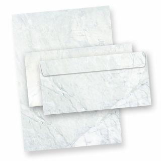 Briefpapier Set Marmor grau (25 Sets ohne Fenster) Strukturpapier Granit Marmor grau/blau mit passenden Briefumschlägen