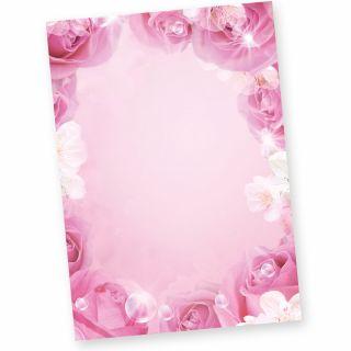 ROSEN Briefpapier (50 Stück) Beidseitiges mit Pink Rosa Motiv, DIN A4, auch als Flyer verwendbar
