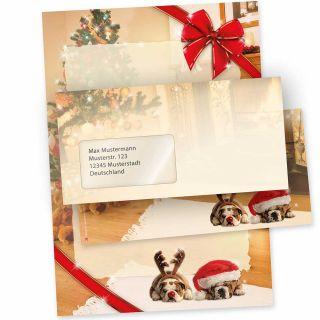 Motivpapier Weihnacht Drollige Hunde (10 Sets mit Fenster) Weihnachtsbriefpapier mit Umschläge
