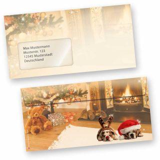 Briefumschläge Weihnachten Drollige Hunde (50 Stück mit Fenster) Behaglichkeit mit drollige Hunde auf dem Teppich, für wunderschöne Weihnachtspost, auch passendes Briefpapier, Geschenkanhänger und Geschenkpapier mit gleichem Motiv erhältlich!