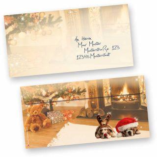 Umschläge Weihnachten Drollige Hunde (50 Stück ohne Fenster) Behaglichkeit mit drollige Hunde auf dem Teppich, für wunderschöne Weihnachtspost