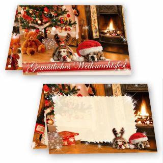 Geschenkanhänger Weihnachten Drollige Hunde (25 Stück) wunderschön mit drolligen Weihnachtshunden, auch als Tischkarten oder Flaschenanhänger verwendbar