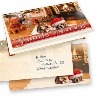 Lustige Weihnachtskarten mit Umschläge, Drollige Hunde 10 Sets selbst bedrucken