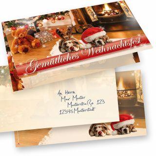 DROLLIGE HUNDE Weihnachtskarten 15er SET Klappkarten DIN lang mit Umschlag, Design by Tatmotive