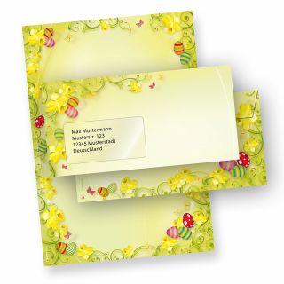 Briefpapier Ostern Set 2-seitig (25 Sets mit Fenster) beidseitig mit Umschläge - NEU: inkl. 2 x 2 Oster-Postkarten