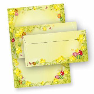 Briefpapier Ostern Set 2-seitig (25 Sets ohne Fenster) beidseitig mit Umschläge - NEU: inkl. 2 x 2 Oster-Postkarten