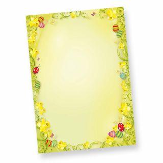 Briefpapier Ostern 2-seitig (50 Stück) Osterpapier DIN A4 farbig - NEU: inkl. 2 x 2 Oster-Postkarten