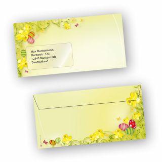 Briefumschläge Ostern 2-seitig (50 Stück MIT Fenster) DIN lang Umschlag mit Ostermotiv  - NEU: inkl. 2 x 2 Oster-Postkarten
