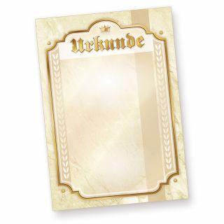 """Urkundenpapier A4 (10 Stück) mit Beschriftung """"Urkunde"""" - 170 g/qm Karton A4 zum selbst bedrucken, für Schach, Skat, Sport uvm."""