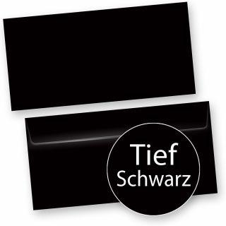 PREMIUM Briefumschläge Tief-Schwarz (50 Stück) inkl. EDDING Silber-Lackstift - DIN lang Umschlag, beidseitig und innen Schwarz