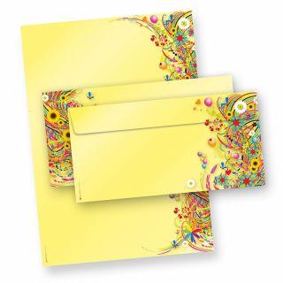 EDITION Flower Power Briefpapier Set (25 Sets inkl. Kuverts) gelb, einzigartige 25 Briefpapiere A4, 90 g/qm beidseitig bedruckt + 25 Umschläge