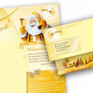 Briefpapier Set Weihnachtspost (10 Sets mit Fenster) Weihnachtsbriefpapier mit Umschlägen -  Rückseite mit Weihnachtslieder