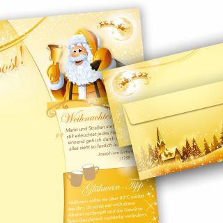 Briefpapier Set Weihnachtspost (10 Sets ohne Fenster) Weihnachtsbriefpapier mit Umschlägen -  Rückseite mit Weihnachtslieder