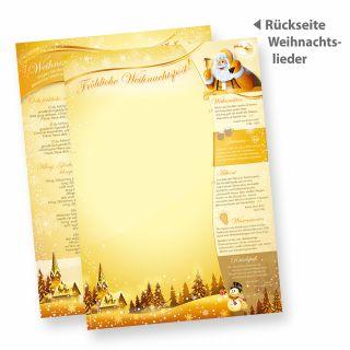 Briefpapier Weihnachtspost (50 Blatt) Weihnachtsbriefpapier, Rückseite mit Weihnachtsliedern