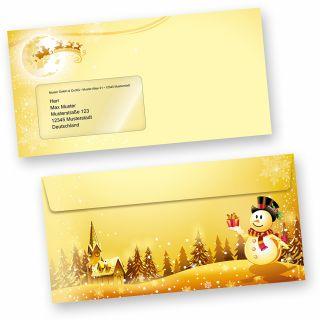 Briefumschläge Schneemann (50 Stück mit Fenster) wunderschöne Kuverts MIT Fenster goldgelb mit Weihnachtslandschaft und Schneemann