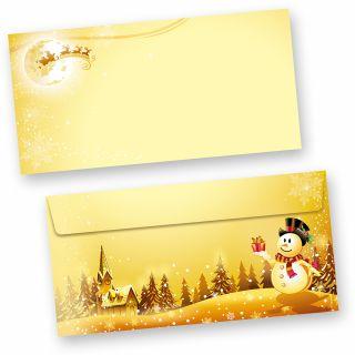 Briefumschläge Schneemann (50 Stück ohne Fenster) wunderschöne Kuverts goldgelb mit Weihnachtslandschaft und Schneemann
