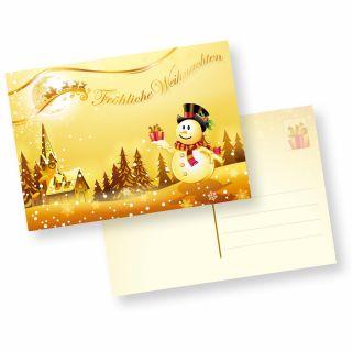 Postkarten Weihnachten Schneemann (10 Stück) lustig originell mit schöner Winterlandschaft