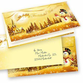 Weihnachtskarten Set Schneemann (10 Sets)mit passenden Briefumschlägen, selbst bedruckbar