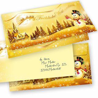 SCHNEEMANN Weihnachtskarten 15er SET Klappkarten DIN lang mit Umschlag, Design by Tatmotive