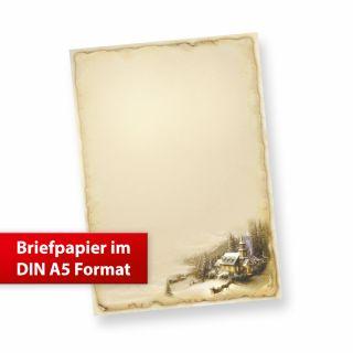 Briefpapier Winteridylle DIN A5 (50 Blatt) Weihnachtsbriefpapier im kleineren Format