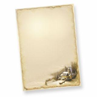 WINTERIDYLLE Weihnachtsbriefpapier (50 Blatt) - Motiv Winter Winterlandschaft, DIN A4 Briefpapier bedruckt